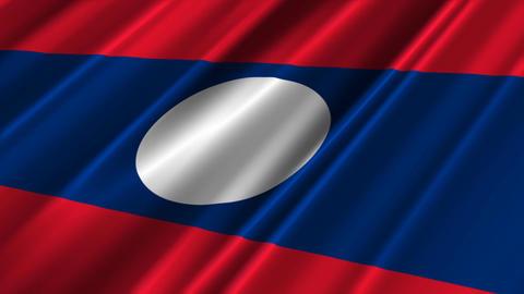 LaosFlagLoop02 Stock Video Footage