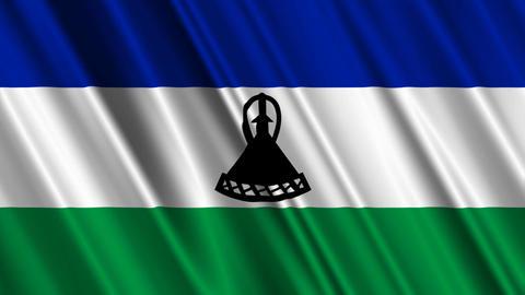 LesothoFlagLoop01 Stock Video Footage