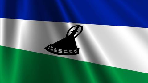 LesothoFlagLoop03 Stock Video Footage