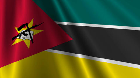 MozambiqueFlagLoop03 Stock Video Footage