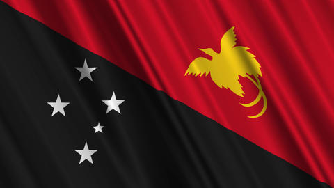 PapuaNewGuineaFlagLoop01 Stock Video Footage