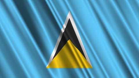 SaintLuciaFlagLoop01 Stock Video Footage