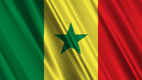 SenegalFlagLoop01 Stock Video Footage