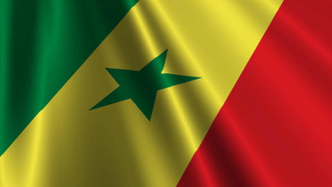 SenegalFlagLoop03 Stock Video Footage