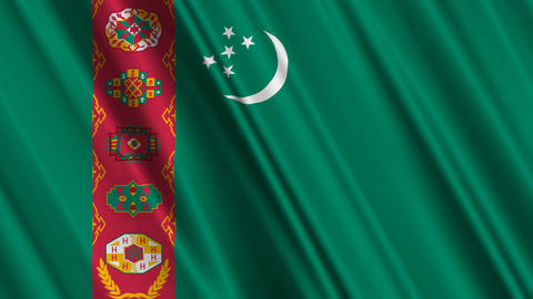 TurkmenistanFlagLoop01 Stock Video Footage