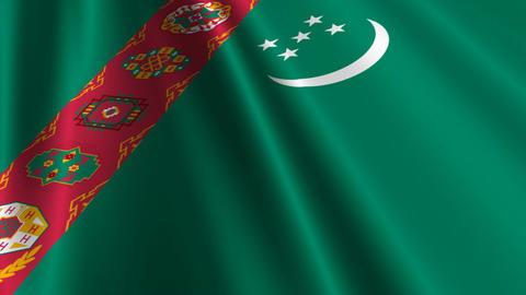 TurkmenistanFlagLoop03 Stock Video Footage