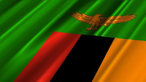 ZambiaFlagLoop02 Stock Video Footage