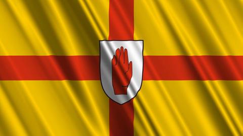 Ulster9ProvinceNorthernIrelandFlagLoop01 Stock Video Footage
