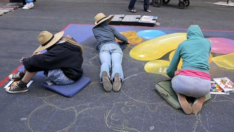 Street Painting stock footage