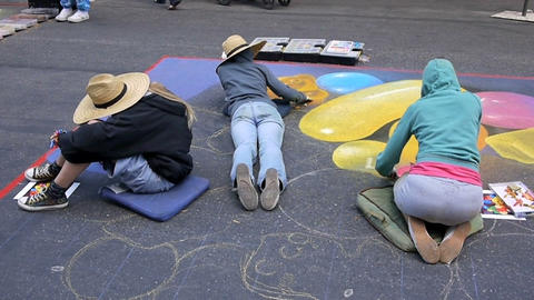 Street painting Stock Video Footage