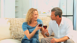 Lovely couple enjoying a french wine Stock Video Footage