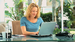 Casual blonde woman working Stock Video Footage