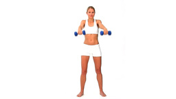 Woman in sportswear with dumbbells Footage
