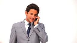Elegant business man talking on the phone Footage