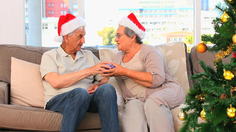 Mature couple on Christmas day Footage
