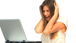 Happy woman looking at her laptop Stock Video Footage