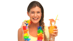Woman in holidays with a cocktail Footage