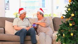 Senior couple on Christmas day Footage