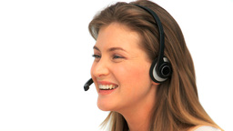 Woman with a headset Stock Video Footage