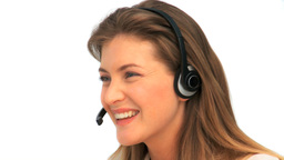Woman with a headset Footage