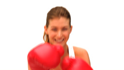 Woman with red gloves Footage
