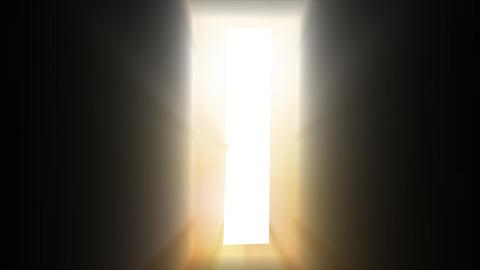 Walking into Heaven Door Glowing + Alpha Footage