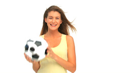 Woman with a ball of soccer Footage