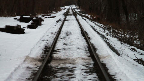 Train Traks in the Snow Footage