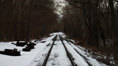 Train Traks in the Snow Stock Video Footage