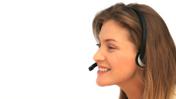 Woman with her headset Footage