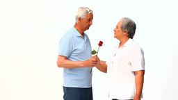 Man offering a rose to his wife Stock Video Footage