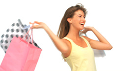 Young woman after shopping Footage