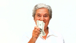 Mature woman showing her money Footage
