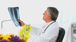Doctor looking at a scan Footage