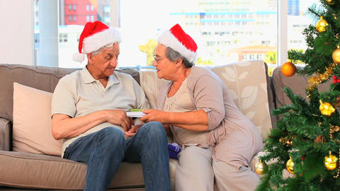 Mature couple during the Christmas day Footage