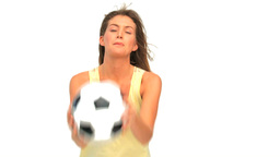Lovely woman with a ball of soccer Stock Video Footage
