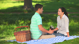 Attractive couple drinking red wine Footage