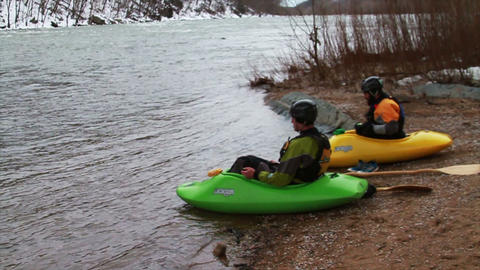 Getting ready to kayak Down River Stock Video Footage