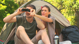 Loving couple doing camping in the countryside Stock Video Footage