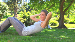 Athletic couple exercising outdoors Stock Video Footage