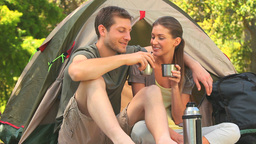 Loving couple camping in the country side Footage