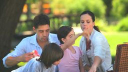 Family eating fruits outdoors Footage