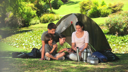 Family camping in the countryside Footage
