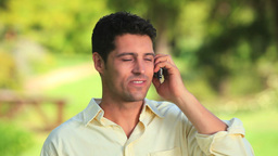 Happy man on mobile phone Stock Video Footage