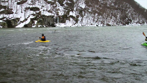 Kayaking Down River in Winter, Slow Motion 2 Stock Video Footage