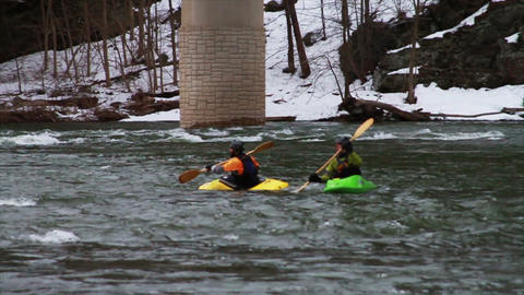 0511 Kayaking Down River in Winter , Slow Motion Footage