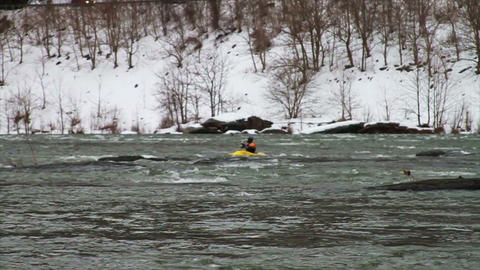 0512 Kayaking Down River in Winter , Slow Motion Footage