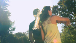 Loving couple dancing outdoors Stock Video Footage