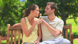 Lovers eating ice creams on a bench Stock Video Footage