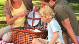 Happy family opening a picnic basket in a park Stock Video Footage
